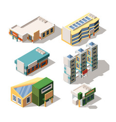 shopping center exterior designs isometric 3d vector image