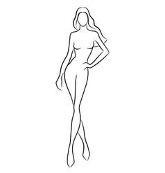 Silhouette a beautiful nude woman vector