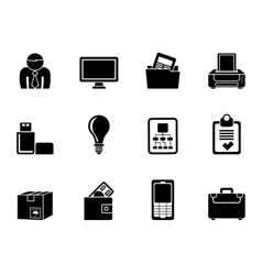 Silhouette Business and office equipment icons vector image