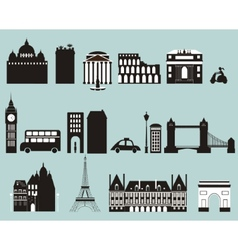 Silhouettes famous cities vector