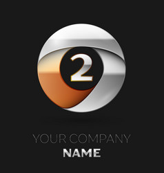 silver number two logo symbol in circle shape vector image
