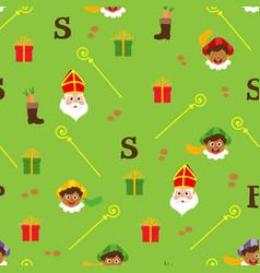 sinterklaas green pattern - dutch holidays vector image