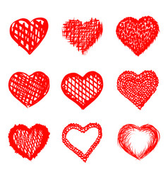 sketch of hand drawn hearts set vector image