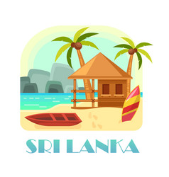 Sri lanka island with sand beach and boat hut vector