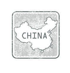 Stamps with contour of map of china vector