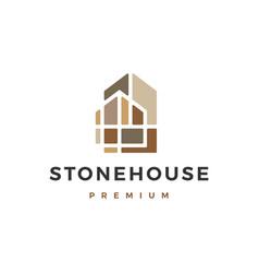 Stone house home logo icon vector