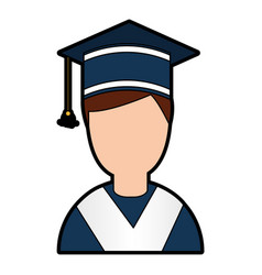student graduated with hat avatar character vector image