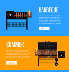 Summer barbecue party flyers with meats on grill vector