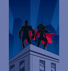 superhero couple roof of watch silhouettes vector image