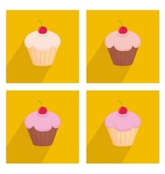 Sweet cherry cupcake icon set on yellow background vector image