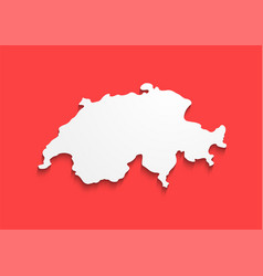 switzerland contour map in colors of national flag vector image