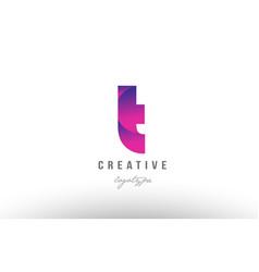 T pink gradient alphabet letter logo icon design vector