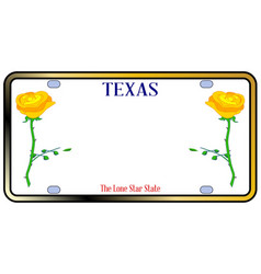 texas yellow rose license plate vector image
