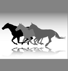 Three horses galloping silhouettes vector