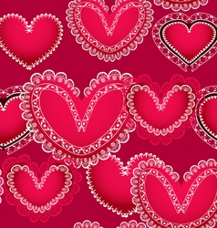 Valentine red hearts seamless background vector