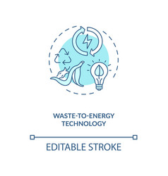Waste to energy technology blue concept icon vector