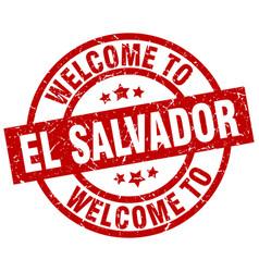 Welcome to el salvador red stamp vector