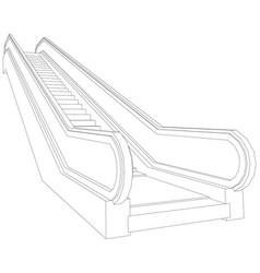 Wire-frame escalator vector
