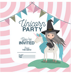Witch with unicorn invitation card vector