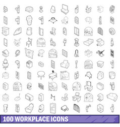 100 workplace icons set outline style vector image