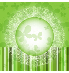 Green spring round frame vector image vector image