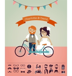 Hipster wedding - design your own invitation card vector image