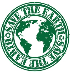 Save the planet stamp vector image vector image