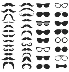 Set of hipster mustache and glasses vector image vector image