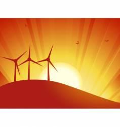 silhouette wind turbines vector image