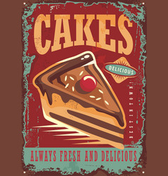 Cakes and sweets vintage sign vector