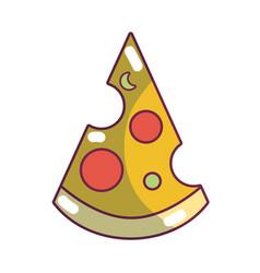 delicious slice pizza unhealthy fast food vector image