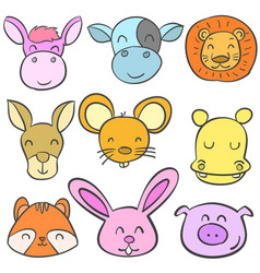 doodle set animal head colorful vector image vector image