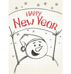 Happy New year from snowman vector image vector image