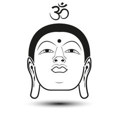 Head of Buddha with Om mantra vector image vector image