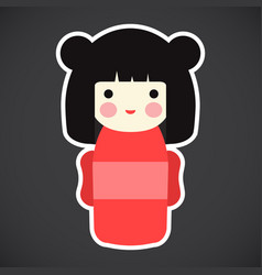 kokeshi doll flat icon vector image