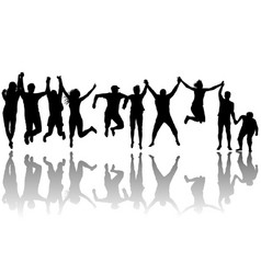 men and women jumping vector image