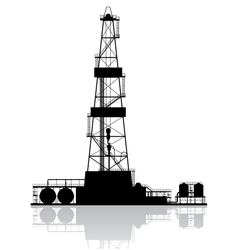 Oil rig silhouette detailed isolated on white vector