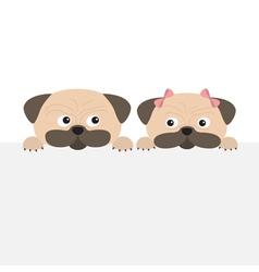 Pug dog mops set Boy and girl Cute cartoon vector image vector image