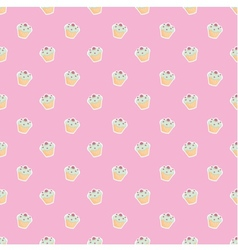 Seamless pink pattern or texture with cupcakes vector image vector image