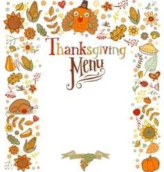 Thanksgiving menu card vector