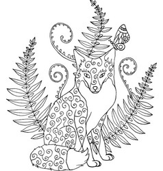 tribal ornated zentangle fox with forest fern vector image