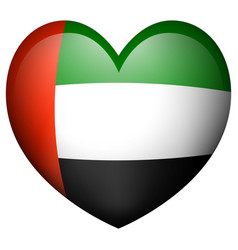 arab emirates flag in heart shape icon vector image
