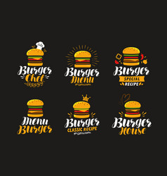 burger logo or label fast food eating concept vector image vector image
