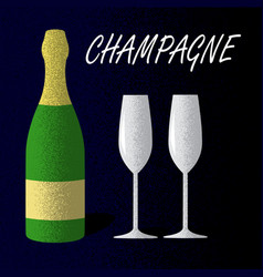 champagne bottle with glasses on dark blue vector image vector image