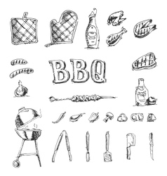 Doodle set of barbecue and grill elements vector image vector image