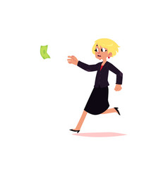 flat office worker woman running for money vector image