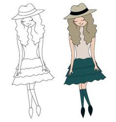 girl in hat vector image