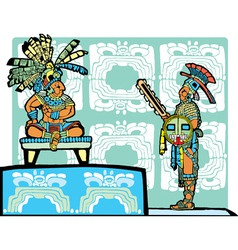 Mayan King and Warrior vector image vector image