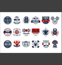 set of original gym logo templates emblems vector image