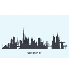 World skyline silhouette Travel and tourism vector image vector image